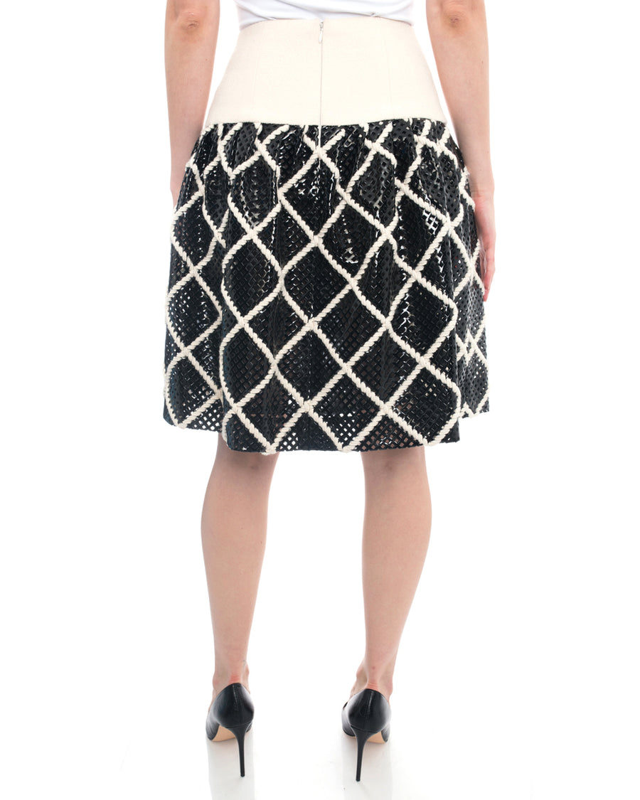 Chanel 15A Black Perforated Vinyl and Ivory Wool Skirt - 36