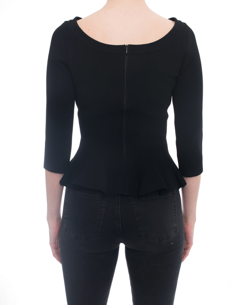 Alaia Black Stretch Knit Boat Neck Peplum Top - 40