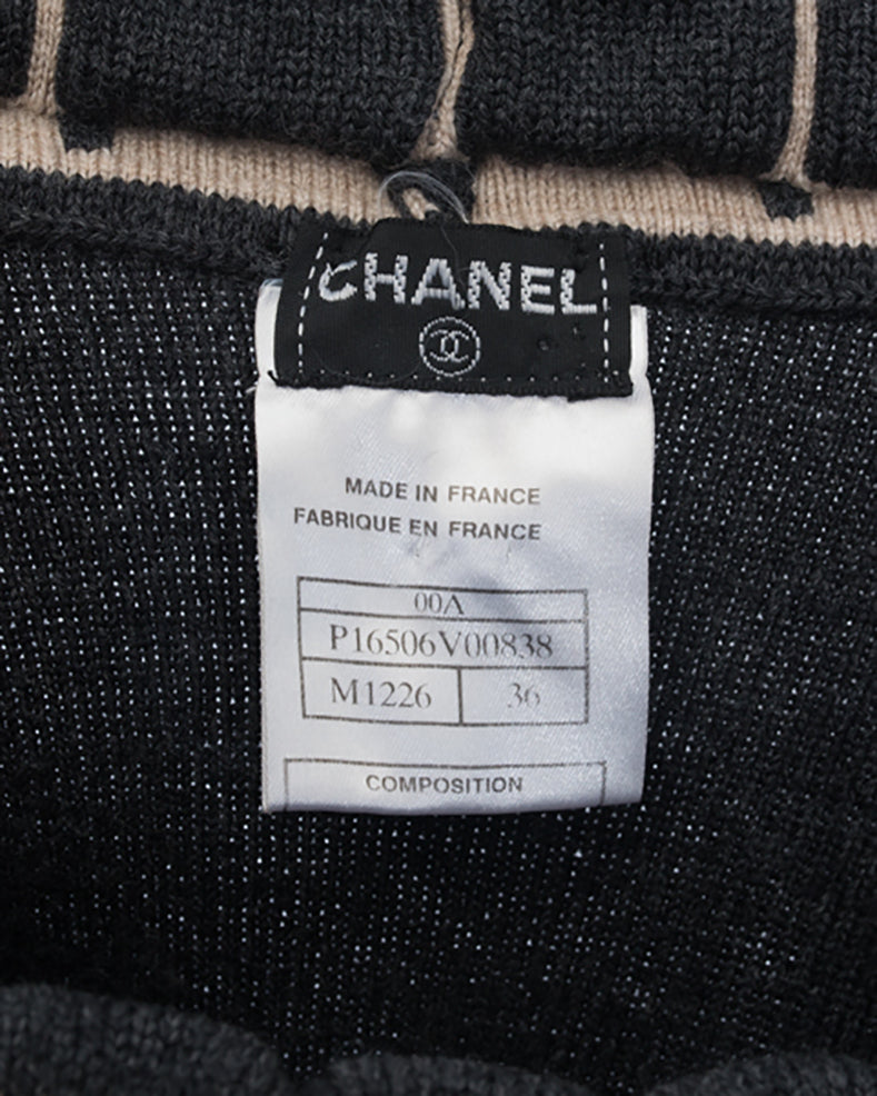 Chanel 00A Grey Wool Cropped Chocolate Bar Textured Sweater - S