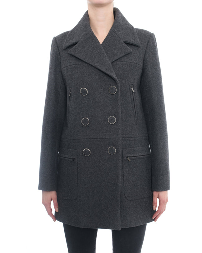 Chanel 16K Grey Wool Coat with Covered Buttons - 6
