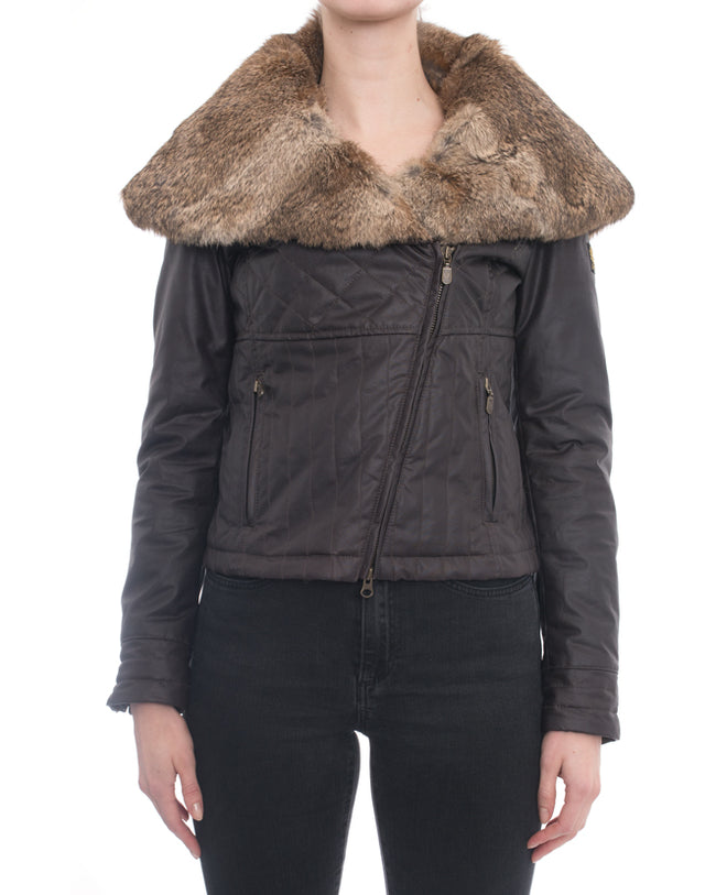 Belstaff Brown Zip Moto Jacket with Rabbit Fur Collar - 4