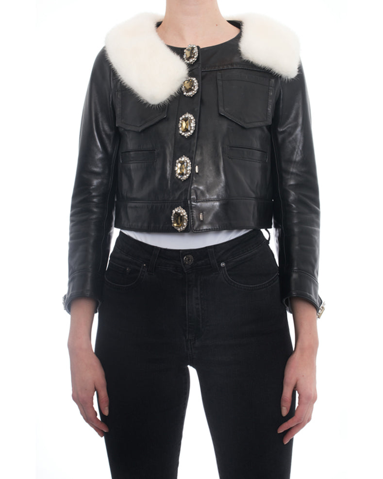 D Squared Black Leather Jewelled Button Crop Jacket with Mink Collar - 2