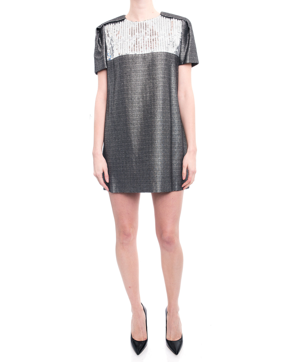 Saint Laurent Pewter Metallic Shift Dress with Sequin Inset - 8