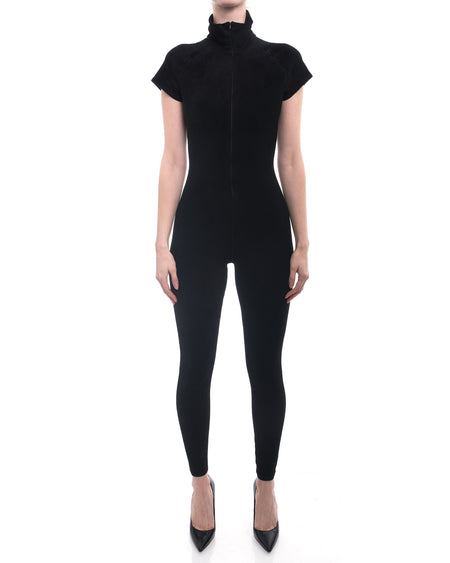 Alaia Black Velour Zip Front Jumpsuit / Catsuit - S