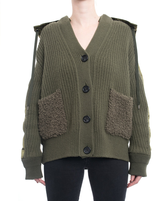 No. 21 Spring 2018 Olive Green Knit and Satin Hooded Jacket - 6