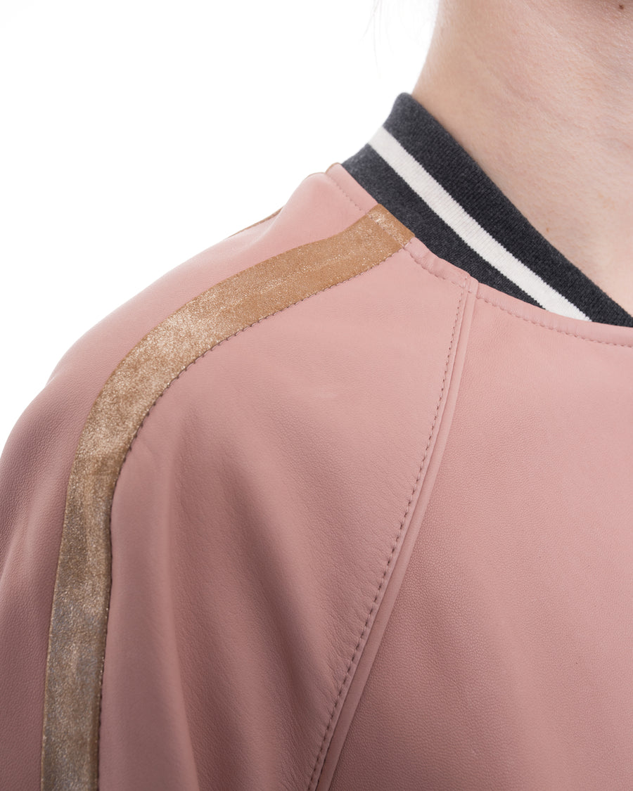 Brunello Cucinelli Pink Lambskin Leather Bomber Jacket with Gold Stripe - 6