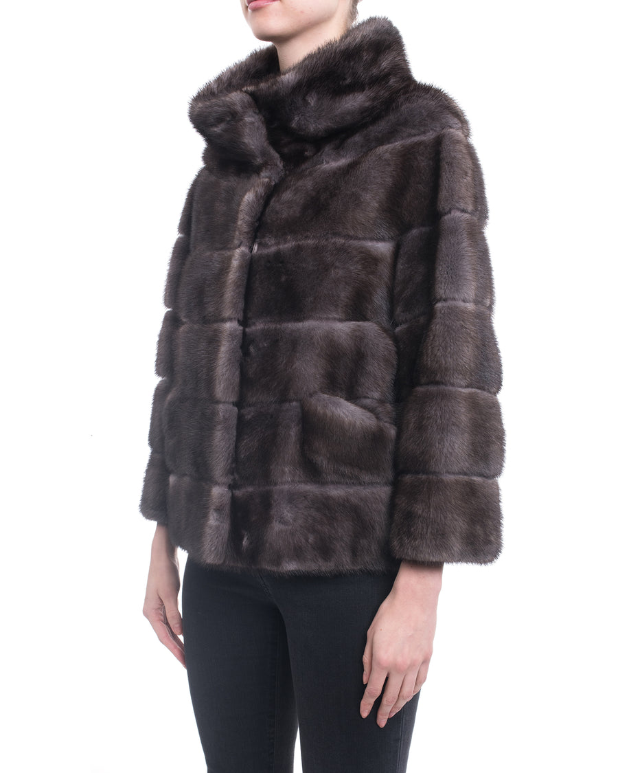 Lysa Lash Blue Iris Mink Fur Short Coat - 6