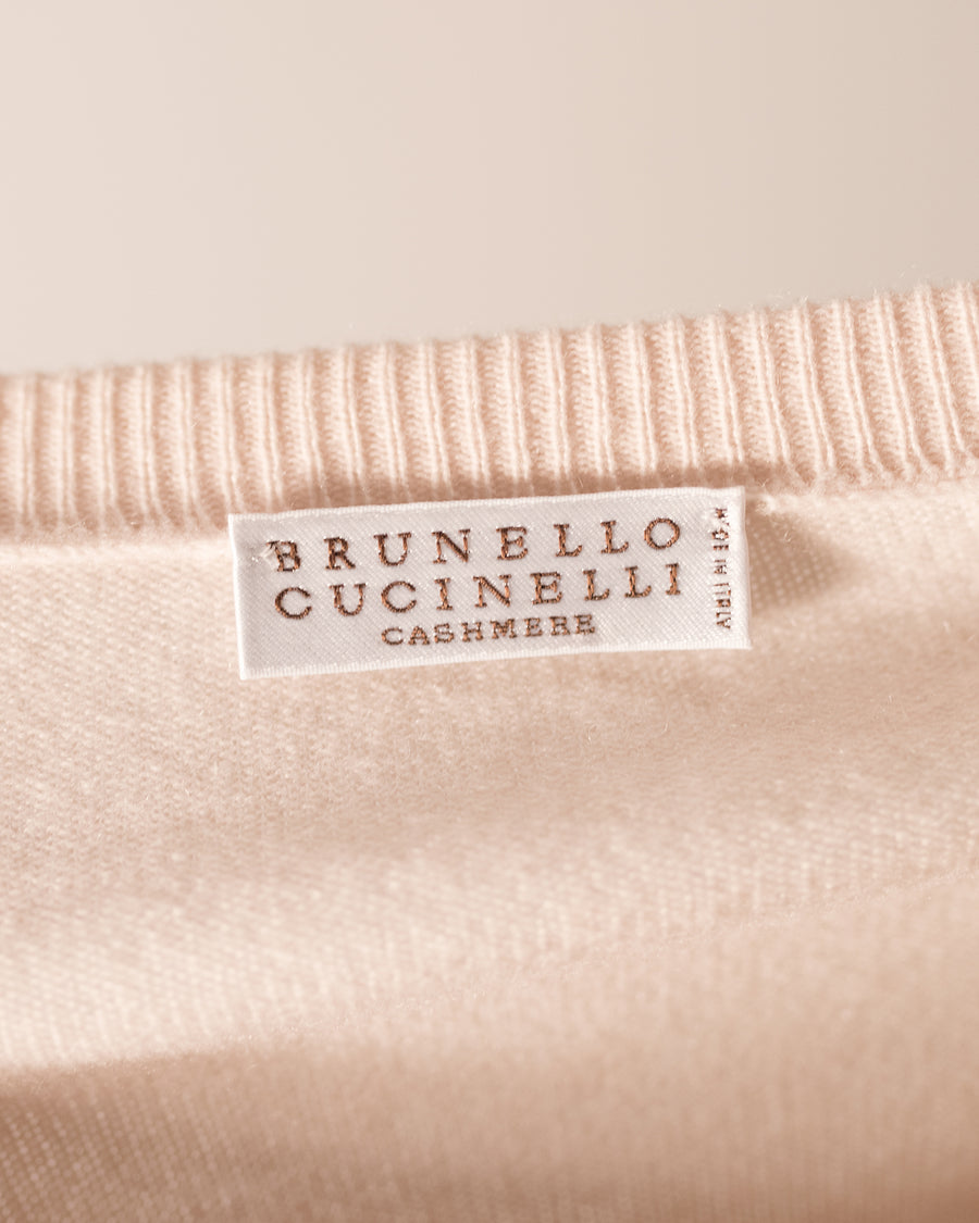 Brunello Cucinelli Blush Pink Cashmere V-neck Sweater - S
