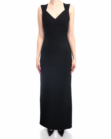 Herve Leger Black Bodycon Bandage Long Evening Gown - M