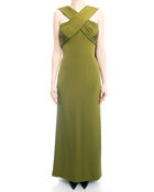 Yves Saint Laurent Haute Couture Vintage 1990's Olive Green Gown