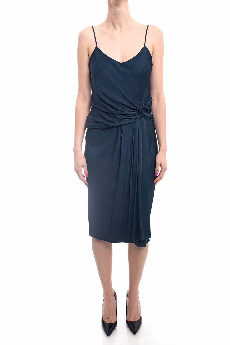 Jason Wu Dark Steel Blue Strappy Jersey Dress - 6