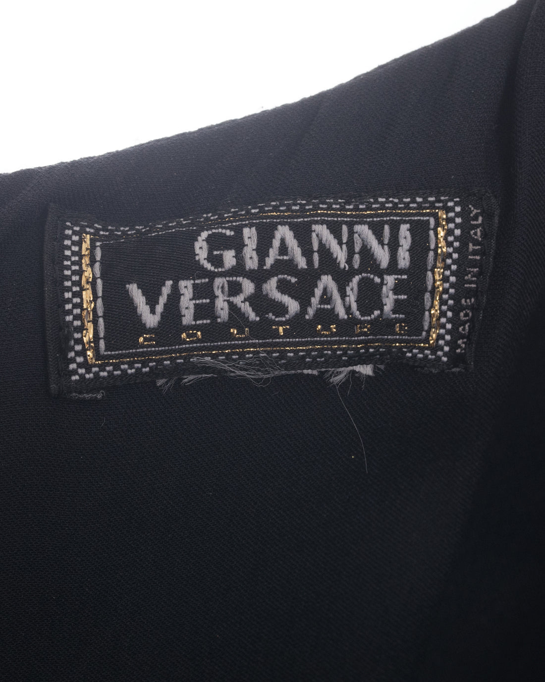 Gianni Versace Vintage 1990's Black Column Dress with Padded Shoulders - 4