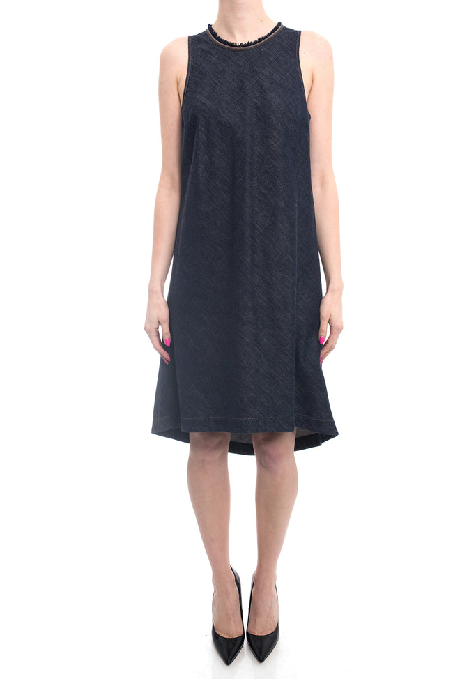Brunello Cucinelli Denim Monili Bead Trim Sleeveless Dress - 8