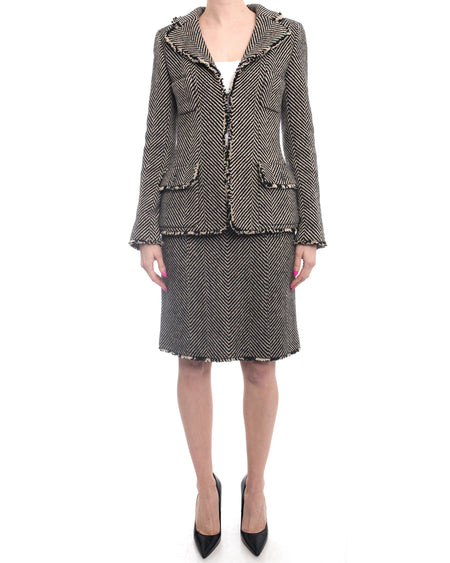 Chanel 06A Wool Herringbone Skirt Suit - 6