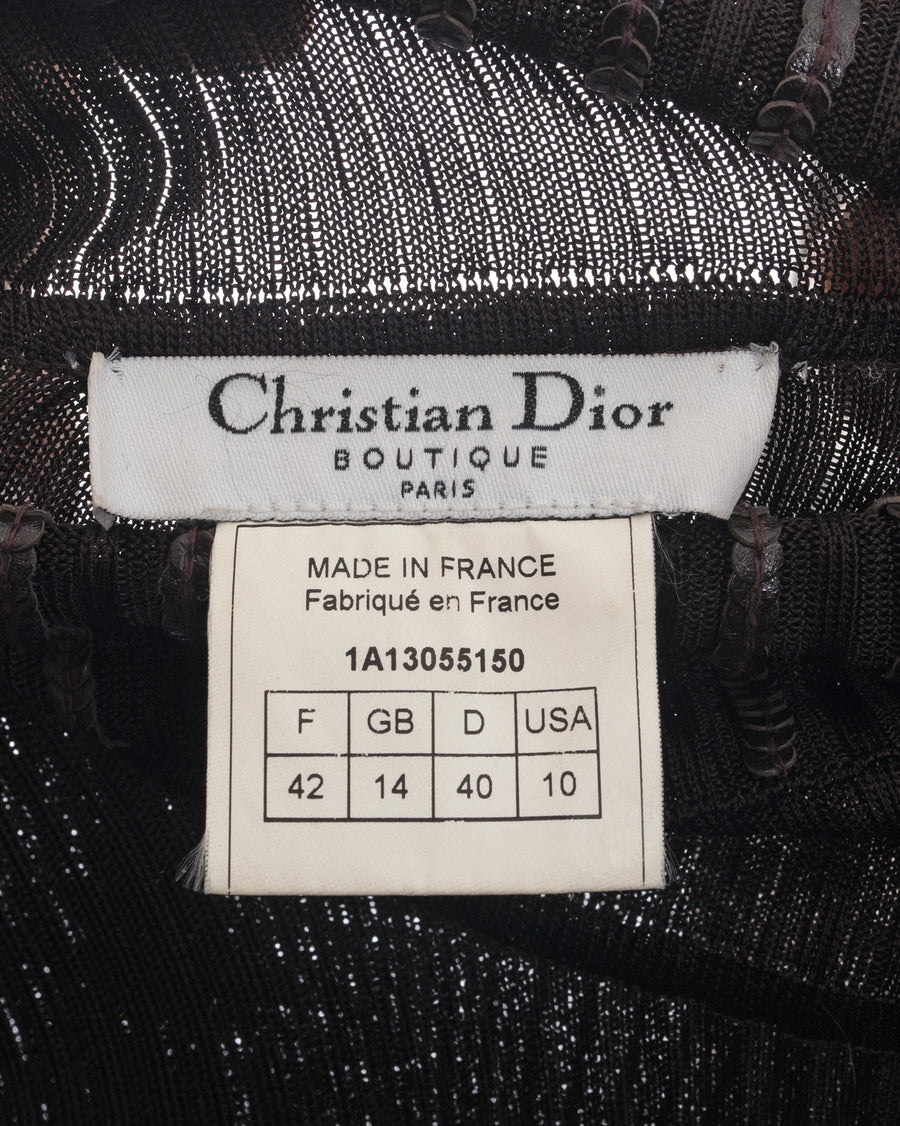 Christian Dior Brown Ribbed Turtleneck with Leather Sequins - L