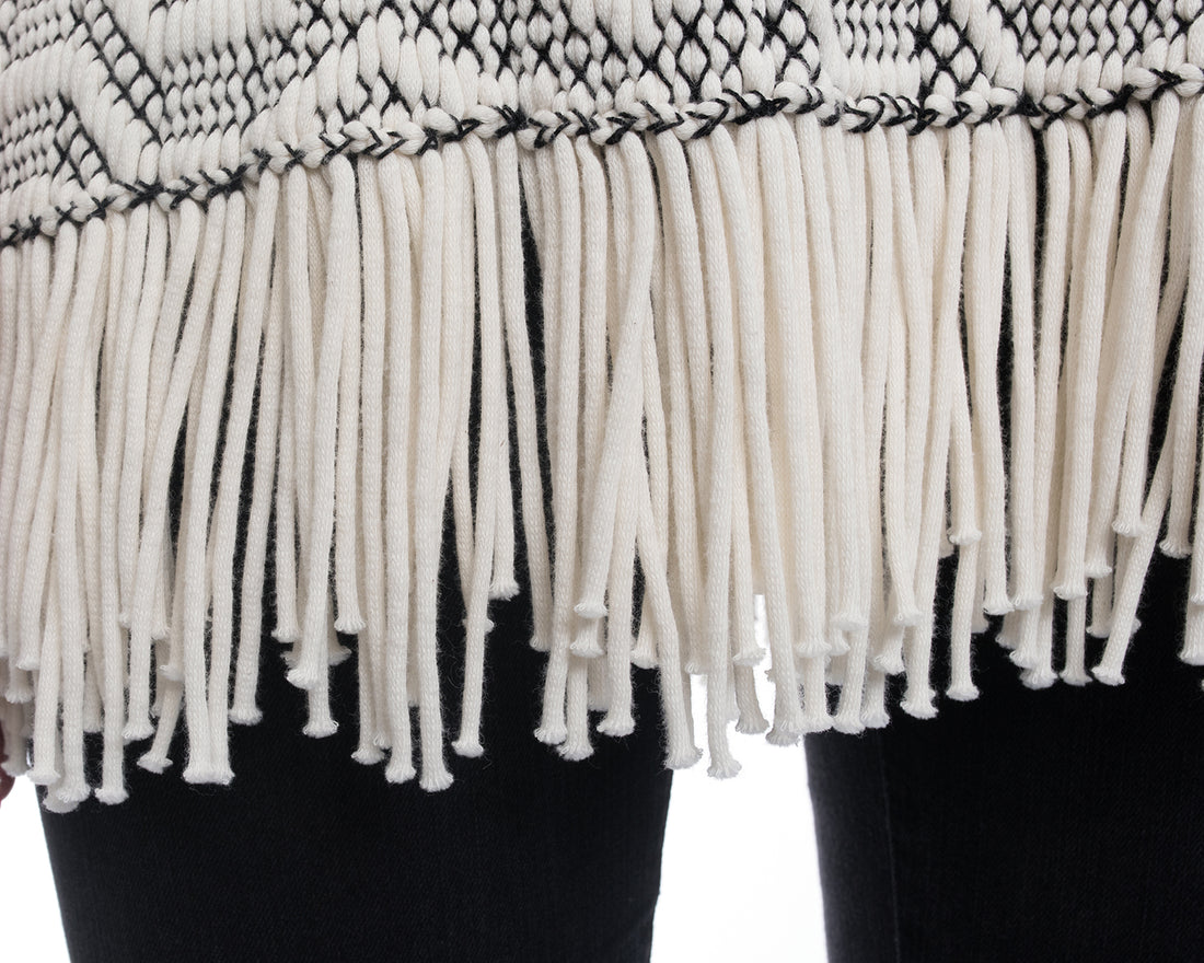 Proenza Schouler Black and White Knit Fringe Sleeveless Top - M