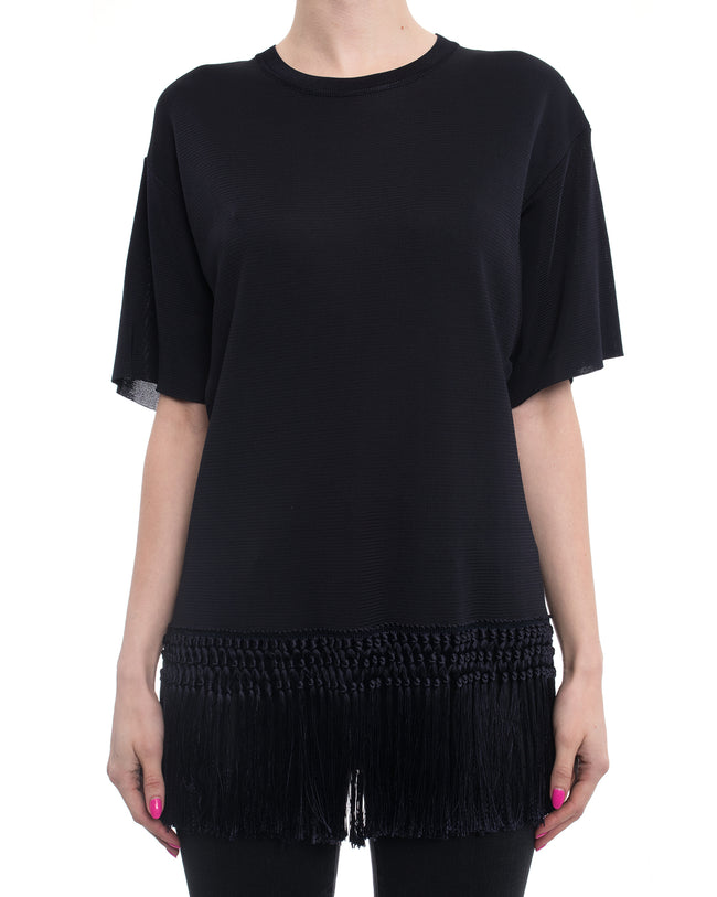 Valentino Navy Knit Short sleeve Top with Fringe Hem - 8
