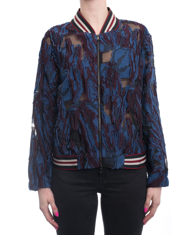Dorothee Schumacher Blue Purple and Sheer Bomber Jacket - M