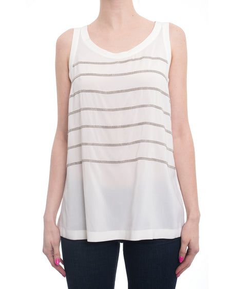 Brunello Cucinelli White Silk Blend Tank Top with Bead Stripes - M