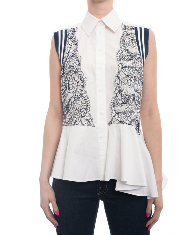 Preen By Thornton Bregazzi White Lace Applique Cotton Poplin Peplum Shirt - S