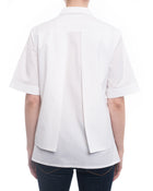 Peter Pilotto Radial White Cotton Panelled Shirt with Lace Inset - 8