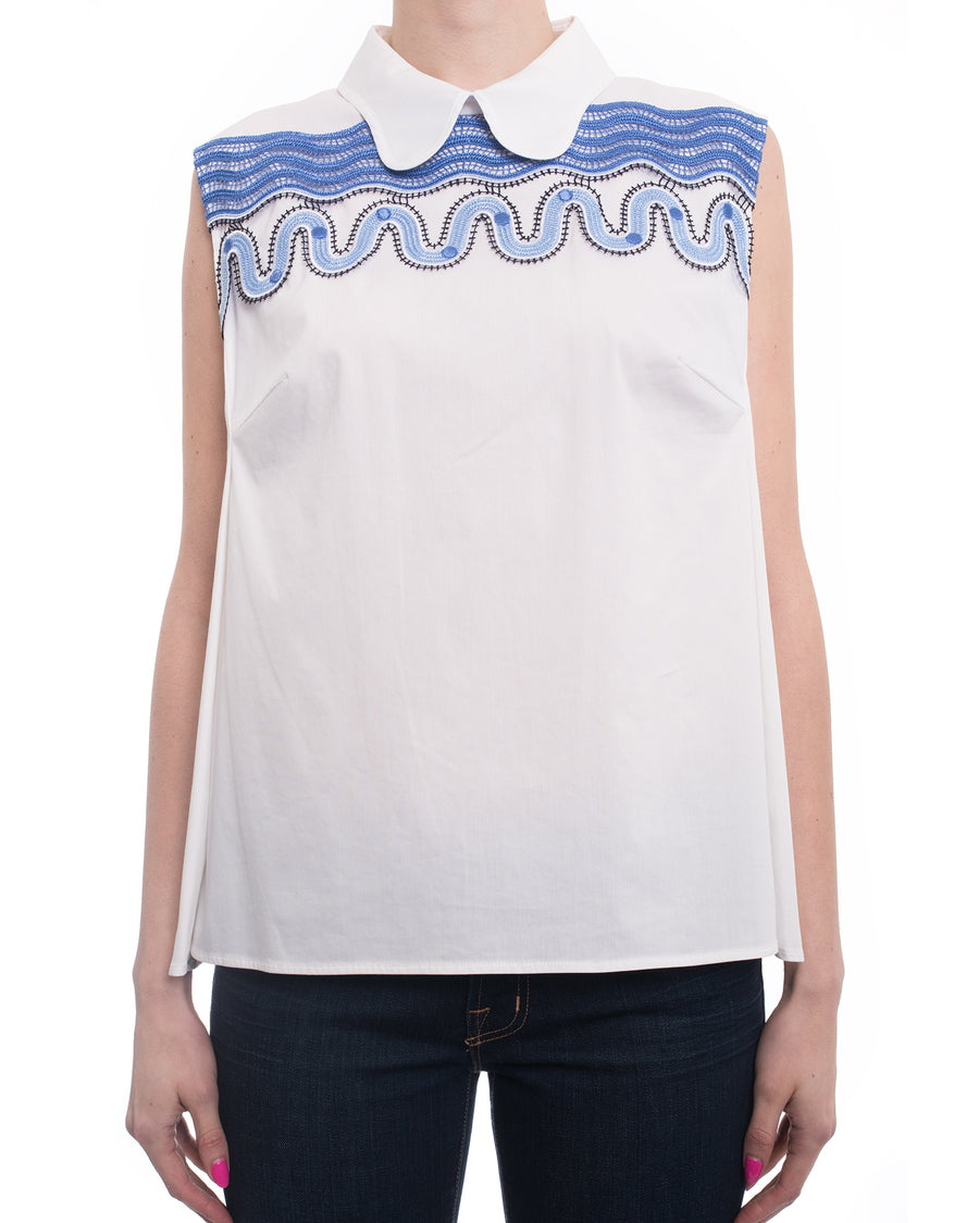 Peter Pilotto Pallas White Sleeveless Collared Shirt With Blue Lace