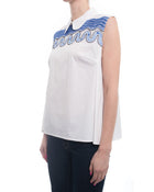 Peter Pilotto Pallas White Sleeveless Collared Shirt with Blue Lace - 8