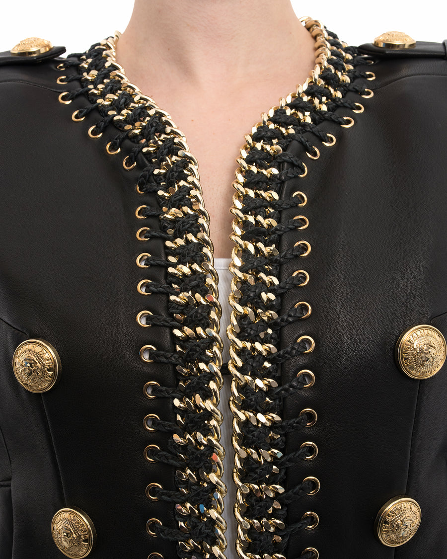 Balmain black leather gold chain trim jacket - 38