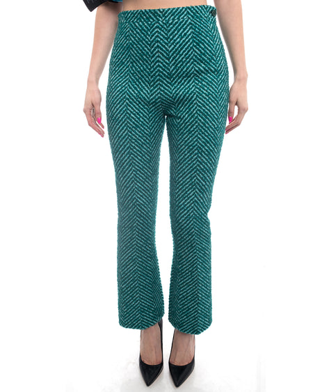 Prada Fall 2015 Runway Green Tweed Wool Chevron Trousers Pants - 6