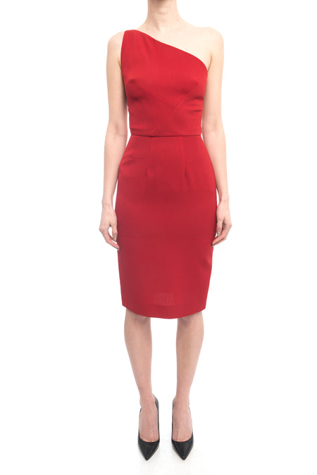 Roland Mouret for Selfridges Red One Shoulder Wiggle Dress - S