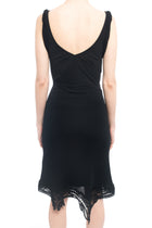 Jean Paul Gaultier Femme Black Jersey Dress with Lace Trim - S