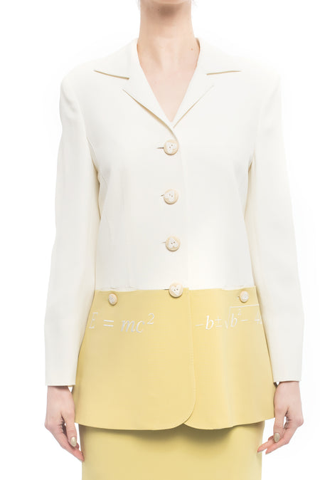 Moschino Couture Vintage Ivory and Citron E=MC2 Math Blazer  - 8