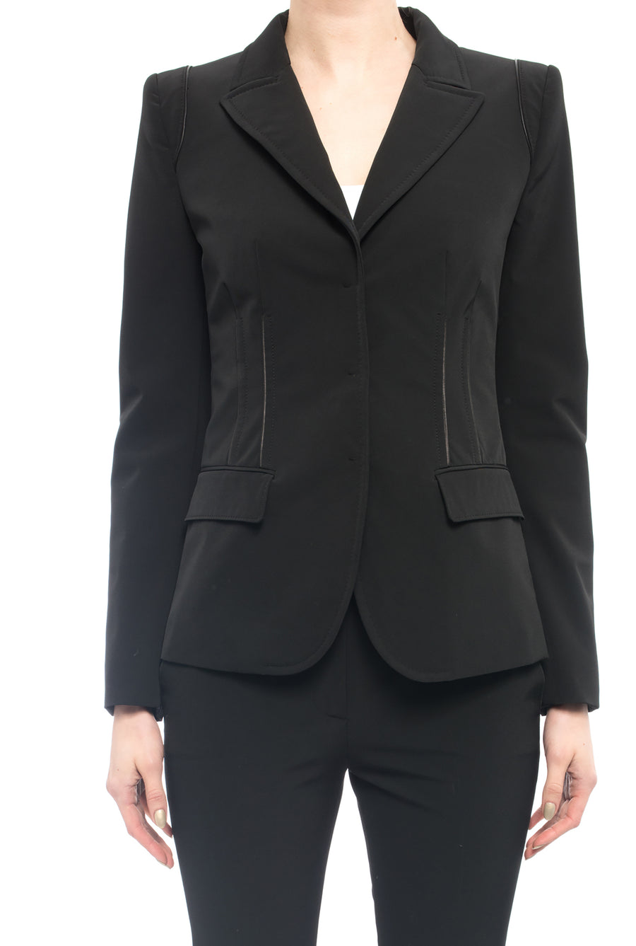 Prada Microfibre Nylon Fitted Black Jacket with Leather Piping - 2
