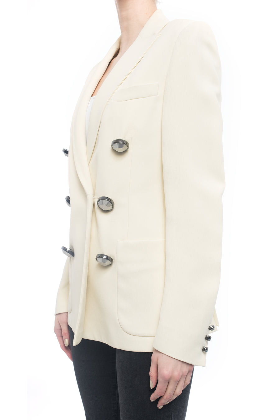 Christopher Kane Spring 2015 Runway Ivory Jacket with Silver Buttons - 4