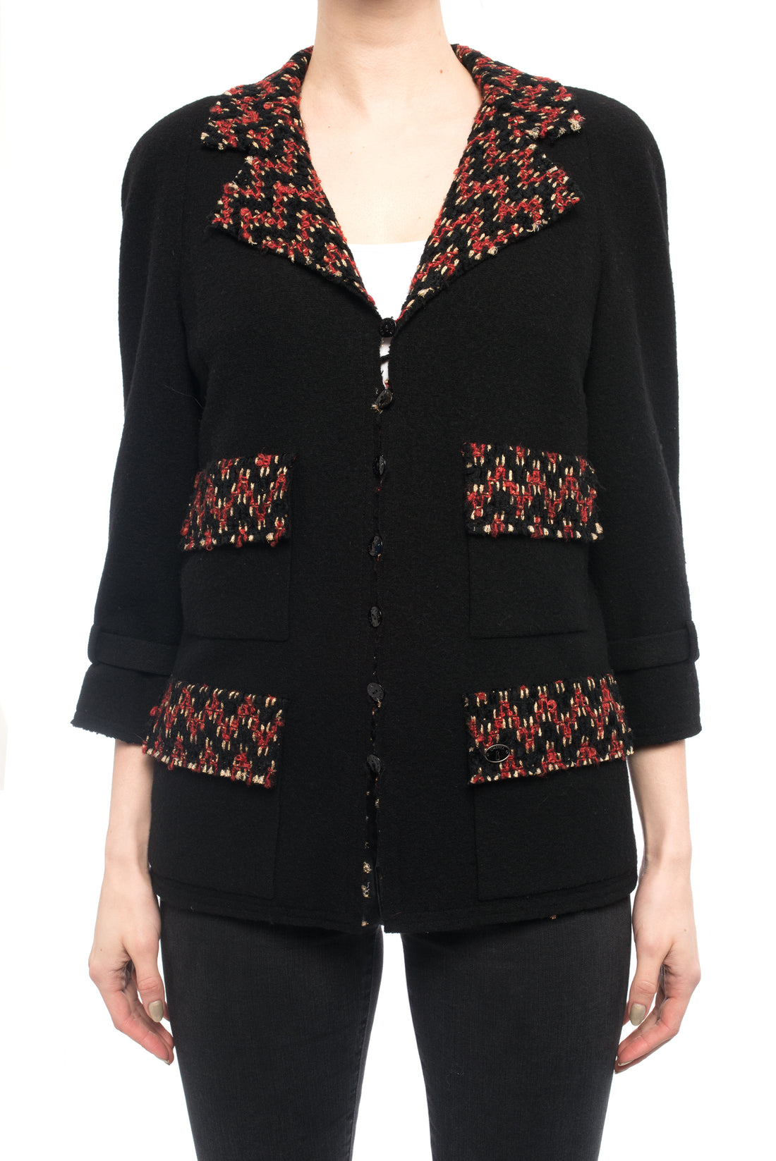 Chanel 07A Runway Black and Red Knit Jersey Jacket - 6