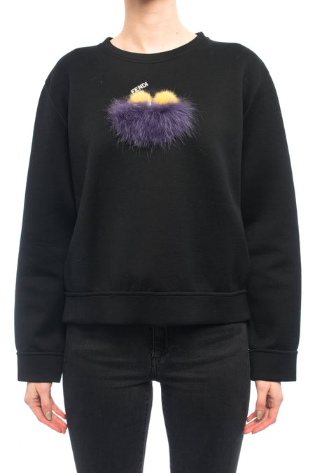 Fendi Black Yellow Purple Knit Monster Bag Bug Fur Eyes Sweatshirt - 4