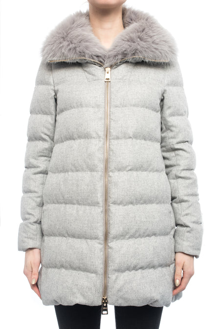 Herno Light Grey Cashmere Blend Down Puffer Coat - 6
