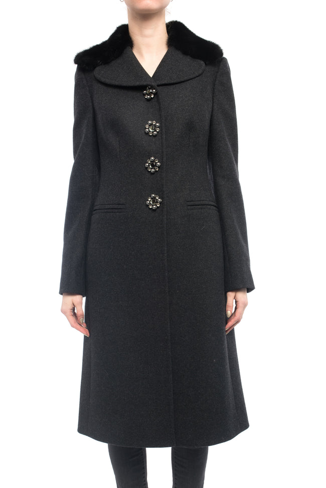 Dolce & Gabbana Charcoal Grey Mink Collar Wool Coat with Jewel Buttons - S