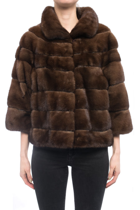 Lysa Lash Dark Brown Mink Fur Cropped Jacket - 6