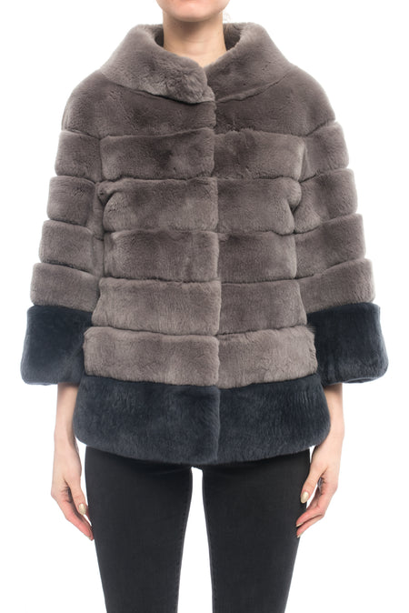 Lysa Lash Grey 2-Tone Sheared Rex Rabbit Fur Jacket - 6