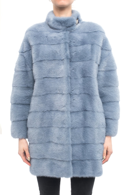 Lysa Lash Light Blue Mink Fur Coat - 6
