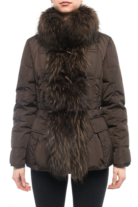 Moncler Gillon Brown Fox Fur Trim Puffer Coat - S