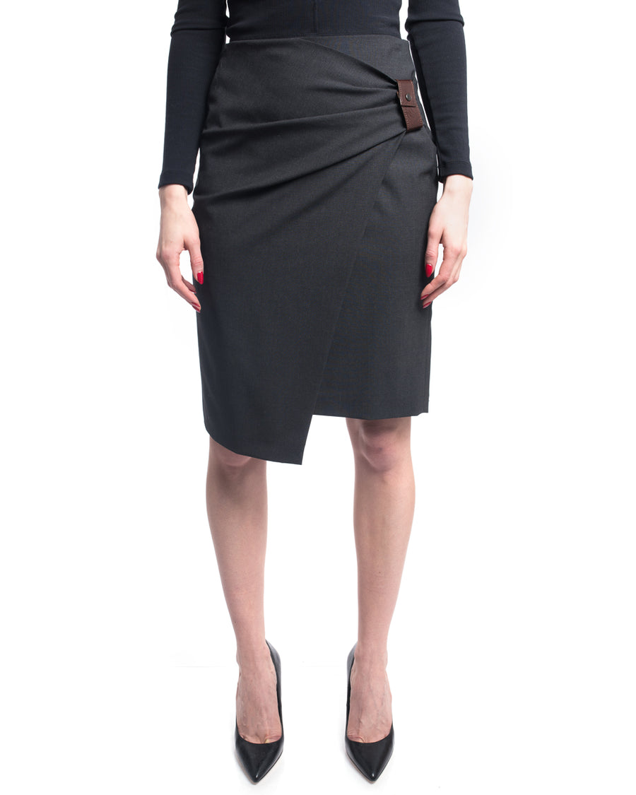Brunello Cucinelli Charcoal Grey Gathered Side Short Pencil Skirt - 6