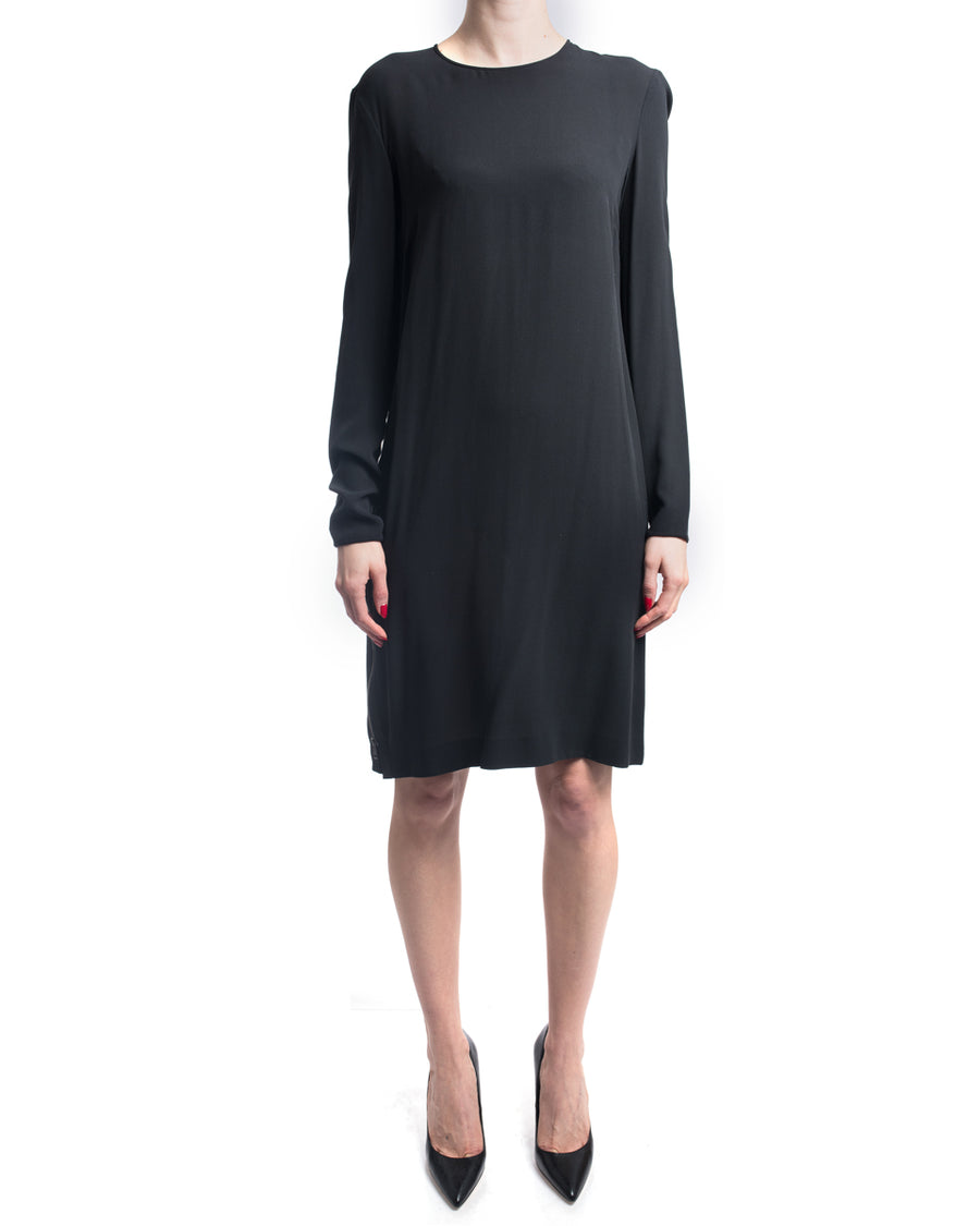Gucci Black Silk Long Sleeve Shift Dress with Zippers at Side - 10