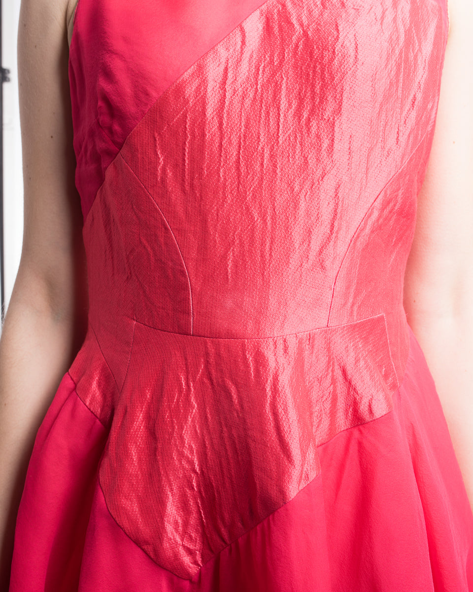 Antonio Berardi Cherry Pink Silk Layered Sleeveless Cocktail Dress - 6