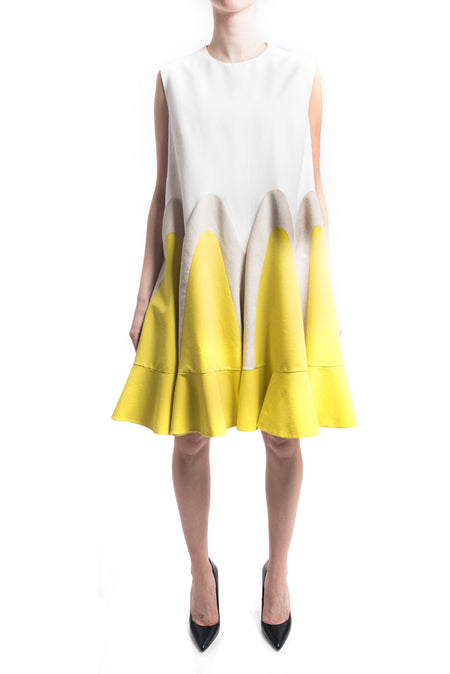 Delpozo Resort 2017 Yellow and Ivory Linen Color Block Flare Dress - 12