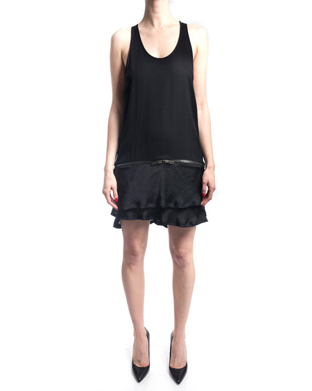 Haider Ackermann Black Tank Zipper Dress with Satin Ruffle Hem - 6