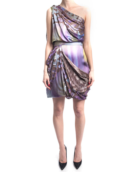 Matthew Williamson Fall 2010 Runway Purple Silk Draped One Shoulder Mini Dress - 4