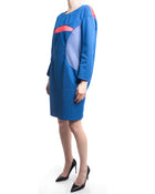 Junya Watanabe Spring 2013 Blue and Red Mesh Shift Dress - L