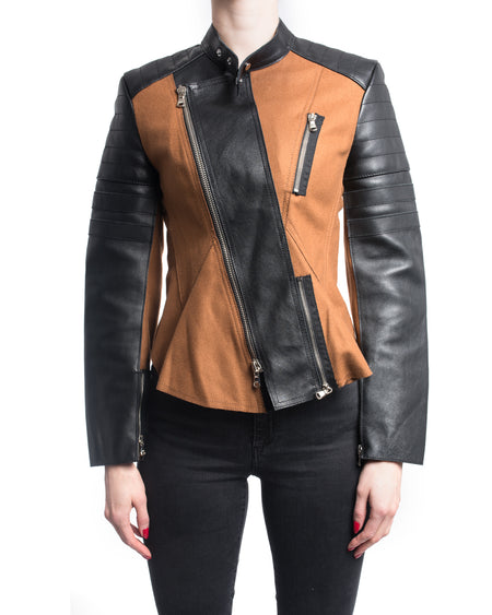 Phillip Lim Brown Wool and Black Leather Moto Biker Jacket - 2